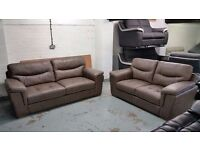 ScS DAYSON 3 SEATER & 2 SEATER SOFAS in TAUPE LEATHER ***CAN DELIVER***