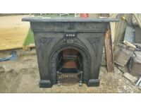 Complete Original Victorian Cast Iron Fireplace