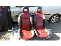 Peugeot 206cc Red/Black Full Leather Interior.