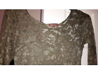 Green stretch lace dress , nicely lined . Size 10