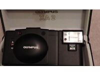 OLYMPUS XA2 MINI 35MM COMPACT CAMERA, WITH A11 FLASH GUN MINT CONDITION