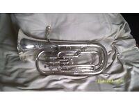"TENOR HORN by BESSON "" THE NEW STANDARD "" MODEL in SILVER PLATE AS NEW ++++"