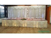 Event decor from £0.80 per chair cover inc sash DIY & £1.80 service. £120 Backdrop & top table