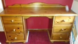 Double Dressing Table Solid Stained Pine