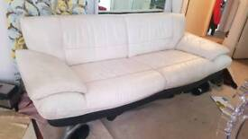 white leather 3 seater sof