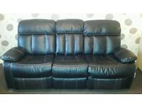 3+2 Seater Faux Leather Fully Reclining Sofa with Pull Down Arm Rest/Table