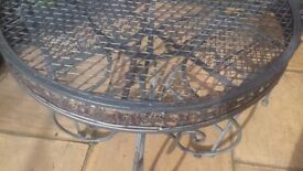 Garden bistro table and 4 chairs in wrought iron