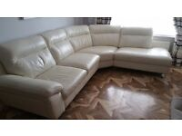 White leather milan corner sofa