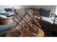 Wooden wine rack holds 10 bottles
