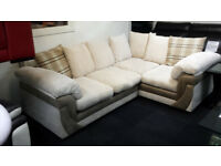 EX-DISPLAY LIGHT BROWN/CREAM JUMBO CORD SUEDE CORNER SOFA