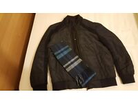Men Superdry Khaki Jacket (SIZE: Standard Large) & with scarf