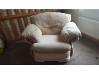 2 Cream Velour Armchairs (one is a recliner)