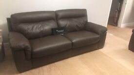 Chocolate leather 3 seater & chair