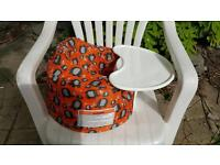 Bumbo baby pink seat with detachable table and cover