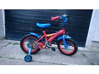 "Kids Spiderman bike 14"" wheels with matching helmet"