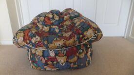 Child's bean bag chair with teddy bear fabric