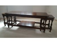 Larkswood long coffee table with 2 small nest tables in Dark Oak colour