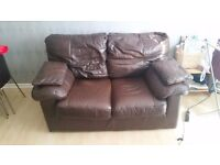 Two seater leather sofa black-brown in very good condition