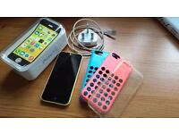 Yellow iPhone 5c Unlocked + 3 cases