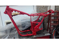 YAMAHA XS650 SPECIAL FRAME AND NUMBER PLATE, POWDER COATED RED. (CHOP, CUSTOM, BOBBER)