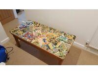 Comic book decoupage coffee table
