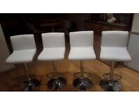 White Immaculate Faux Leather Bar Stools x 4