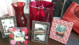 RED ACCESSORIES BUNDLE.VASE LIGHTSHADE AND 4 PHOTO FRAMES