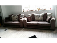GRADED Brown Fabric 3+3 Seater Sofa Suite Local Delivery Available