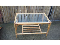 bamboo/cane coffee table with glass top