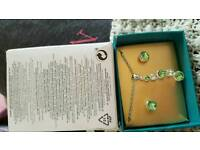 journey birthstone necklace and earrings set august