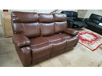 BANKRUPT STOCK REDUCED £375 Brand New Premium Recliner Dublin Faux Leather Three Seat Sofa