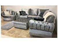 sienna crushed velvet corner sofa set