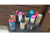 Job L0T of 9 water flask bottles , 1 thermo flask bottle , 1 the lazy Mug , all new