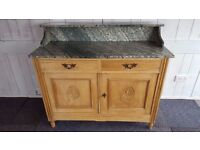 FRENCH MARBLE TOP SATIN WALNUT WASHSTAND