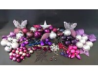 Purple, Silver and pink christmas decorations