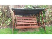 Garden wooden swing bench