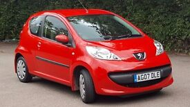 2007 PEUGEOT 107 URBAN SEMI-AUTO RED. ONLY 26,800 MILES
