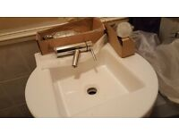 Designer bathroom sink / basin with tap and waste New !