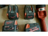 Milwaukee v18pd drill 4x 3.0ah batteries, torch, 230&110v chargers, carry bag