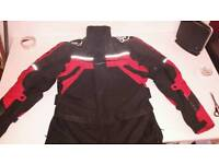 Mens motorbike jacket , black and red waterproof
