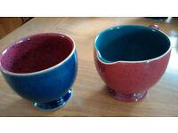 Denby Harlequin Milk jug and sugar bowl - lovely set