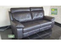 Designer Black leather pair of 3 seater sofas (168) £899