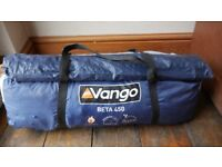 Camping kit - Vango 450 beta large Tent - Double blow-up mattress with foot pump- Gas stove - Mallet