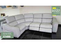 Designer Grey Leather 4 piece corner sofa (107) £1499