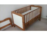 Wooden Cot Bed with mattress, and new fitted sheets and new mattress protector