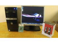 HP 500B Home & Business PC Desktop Computer & HP 17 LCD