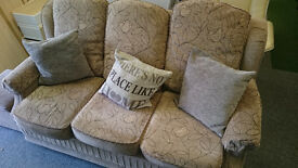 3 seat material sofa settee cushions flower pattern brown