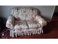 Sofa - double seater, cream with floral pattern