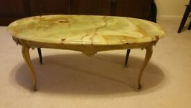 Coffee Table, Solid marble and guilt, oval shape