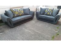 SALSA 3 SEATER £399 GET 2 SEATER FREE !! IN SLATE GREY JUMBO WITH LIME GREEN FLORAL CUSHIONS